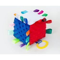 Kocka címkejáték-kék-piros minky